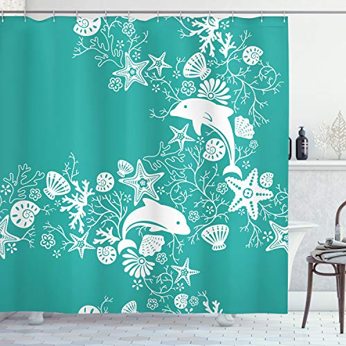 Ambesonne Sea Animals Shower Curtain, Dolphins Flowers Sea Floral Pattern Starfish Coral Seashell Composition, Cloth Fabric Bathroom Decor Set with Hooks, 70' Long, Sea Green