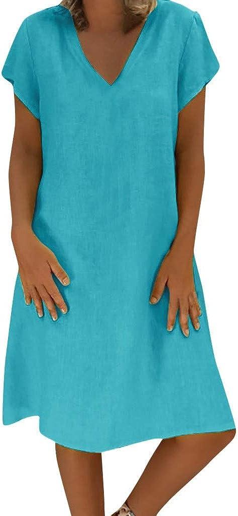 Shakumy Womens Cotton Linen Plain Dress V Neck Summer Casual Loose T Shirt Dresses Short Sleeve Swing Dress Beach Sundress