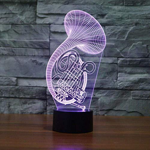 Lámpara de ilusión 3D Luz de noche LED Forma de cuerno francés Acrílico 7 Cambio de color Lámpara de mesa táctil USB Tienda en el hogar Decoración de bar Regalo de Navidad para niños