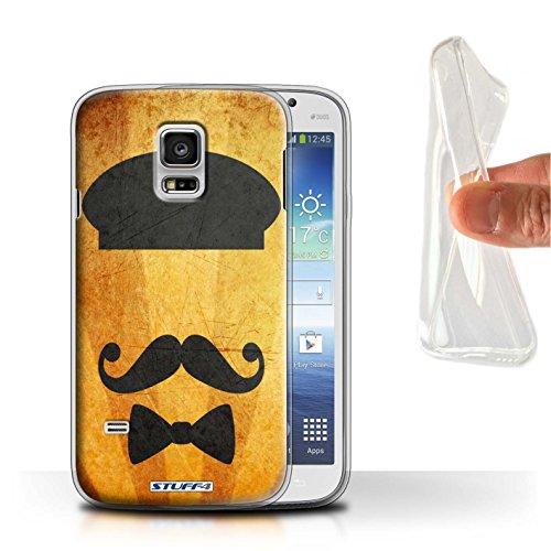 STUFF4 Gel TPU telefoonhoesje/hoes voor Samsung Galaxy S5 Mini/baret hoed ontwerp/retro snor collectie
