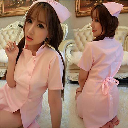 FJJ-HUSHIFU, Disfraz de Enfermera Sexy for Mujer Cosplay Lencería Sexy Ropa Interior erótica Caliente Babydoll Lencería erótica de mucama Disfraces de rol (Color : Rosado)