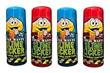 Slime Licker 4-Pack Bundle of Sour Rolling Liquid Candy - TWO Strawberry and TWO Blue Razz Flavor