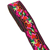 7 Yard 2' Tulip Floral Embroidered Jacquard Ribbon Vintage Woven Trim Fabric Tapestry for Home Decor Embellishment (Black)