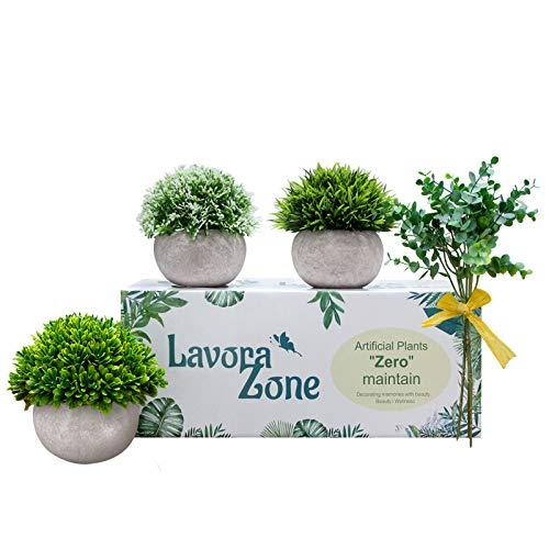Lavora Zone Mini plantas artificiales 3+1 pieza Set pequeñas plantas falsas vegetales artificiales Topiary Plantas y flores para decoración