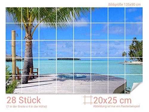 GRAZDesign Fliesenaufkleber Bad Strand - Badezimmer Fliesen Aufkleber Hotel - Fliesenbilder Bad Urlaub - Fliesenaufkleber Meeresblick/Fliesenmaß: 20x25cm (BxH) / 761017_20x25_90
