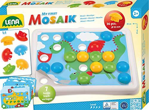 Lena 35630 Mein erstes Steckmosaik mit 36 Steckern, Mosaiksteine mit Ø von 32 mm, Mosaikspiel mit 7 Steckvorlagen mit abgerundeten Ecken, Steckspiel für Kinder ab 2 Jahre, Mosaik Bastelset