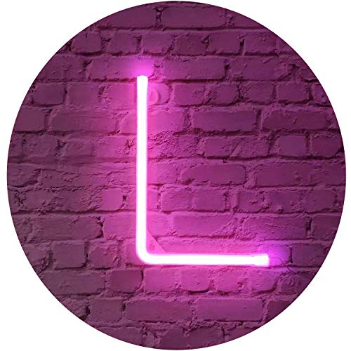 Rosa Neon Brief Leuchtreklamen Zeichen Nachtlicht LED Festzelt Buchstaben Neon Kunst Dekorative Lichter Wanddekor für Kinder Baby Zimmer Weihnachten Hochzeit Dekoration (L)