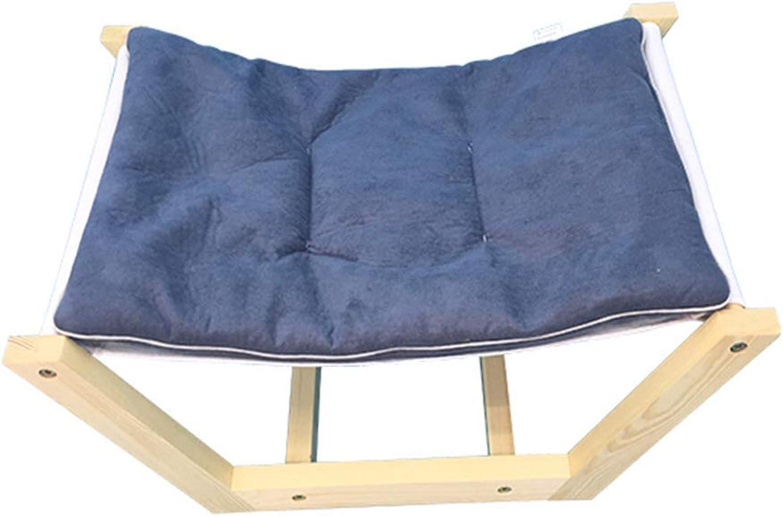 Desti Flakes Pet Bed Cat Dog Bed Solid Wood Hammock Teddy Washable Grey Mattress (Size   S)