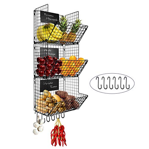 FiiMan 3-Tier Wall Mounted Hanging Wire Baskets with Removable Chalkboards and S-Hooks Fruit Vegetable Produce Storage Space Saving Kitchen Hanging