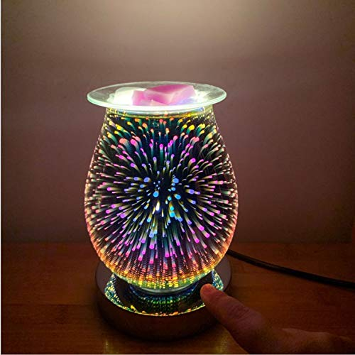 N / E 3D Aroma Lamp Electric Wax Melt Burners 3D Fireworks Effect Oil Burner