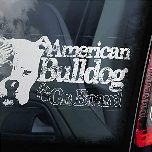 DONL9BAUER American Bulldog on Board Cars Vinyl-Aufkleber, Beware of the Dog Bully Scott Auto-Aufkleber, Aufkleber für LKW, Vans, Motorrad, Fenster, Laptop, Computer, Tasse, Tasse, Flasche, Bumpe.
