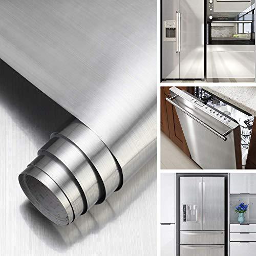 KINLO Klebefolie Metall Optik Selbstklebende Folie Silber Gebürstet Möbelfolie 60x500 cm PVC Dekofolie Küchenfolie für Kühlschrank Küchenschränke Küchenrückwand Tür Möbel Haushaltsgeräte & Deko