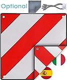 PLANGER®- Warntafel Italien und Spanien 2in1 (50 x 50 cm) - Reflektierendes Warnschild rot weiß für Heckträger u Fahrradträger