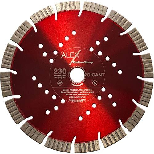 PREMIUM Diamant-Trennscheibe 230 mm x 22,23mm V-Turbo 15mm Segmente passend für Beton Stahlbeton Waschbeton Universal Diamantscheibe für Winkelschleifer 230mm