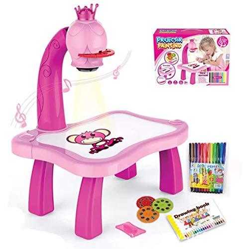 Parayung Kinder Magnetplastik Zeichenbrett Projektor mit Muster Schiebe Radiergummi und Musikmalerei Bildungswerkzeug (Rosa)