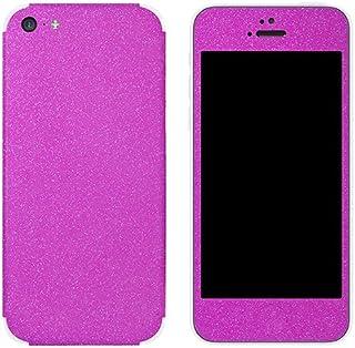 غلاف واقٍ من مجموعة Slickwraps Glitter لهاتف آيفون 5c - وردي جليتز - الجلد - تغليف للبيع بالتجزئة - وردي جليتز