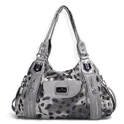 Handbag Hobo Women Handbag Roomy Multiple Pockets Street ladies' Shoulder Bag Fashion PU Tote Satchel Bag for Women (AK812-2Z Pink) (AK812-2Z Gray Leopard)