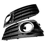 Euro Front Lower Bumper Fog Light Grille Grilles Grill Cover For 09 10 11 Audi A4 A4L B8 4 Door 4D Matte Black 2x