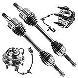 Detroit Axle - 4WD Front CV Axle Shafts + Wheel Hub & Bearings Assembly Replacement for Buick Chevy GMC Isuzu Saab Rainier Trailblazer EXT Envoy Ascender 9-7X - 4pc Set