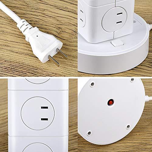 BEVAタワー電源タップUSB電源タップUSBコンセント12AC充電口(100-125V)+3USBポート(最大4.8A/5V)付きのOAタップ雷ガード過負荷保護延長コード2mオフィス/家庭給電用シンプルデザイン(ホワイト)