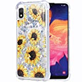 Flocute Galaxy A10e Case, Galaxy A10e Glitter Floral Case Flower Bling Sparkle Floating Liquid Soft TPU Cushion Luxury Fashion Girly Women Cute Case for Samsung Galaxy A10e A20e (Sunflower)
