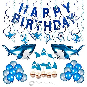 Shark Birthday Decorations 80pcs Shark Theme Birthday Party Decorations for Kids Ocean Theme Party Supplies