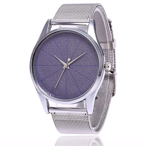 WN-PZF Reloj de Pulsera, Hombres/Mujeres Moda Urbana Creativa sin Escala dial Minimalista Estudiante Reloj Hebilla Hebilla Correa de Acero Inoxidable,Azul