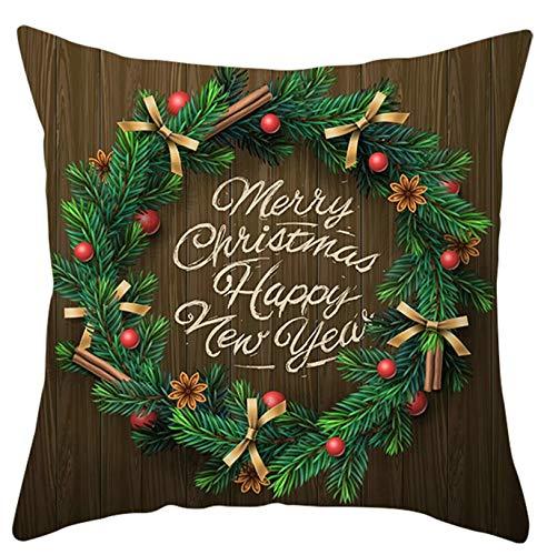 ANAZOZ Set Funda Cojin 45x45,Funda Cojines de Poliéster Fundas de Cojines Guirnalda conMerry Christmas & Happy New Year Verde Marrón