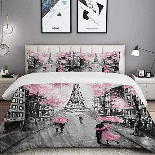 MOBEITI Bedding set copripiumino, pittura a olio di Parigi Europea del Paesaggio Città Francia Torre Eiffel nero, insieme microfibra Copripiumino