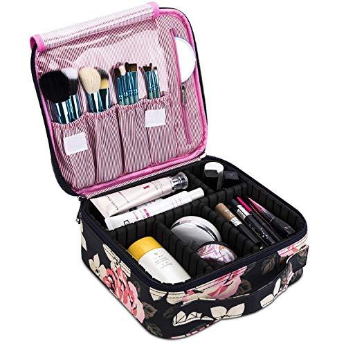 CoolBELL Kosmetiktasche Reise Makeup Box Zug Kosmetikkoffer Kosmetischer Organizer Etui Kulturbeutel Kulturtasche mit Teiler für Make-up Bürste Schmuck Toilettenartikel Digitalzubehör,Pfingstrose