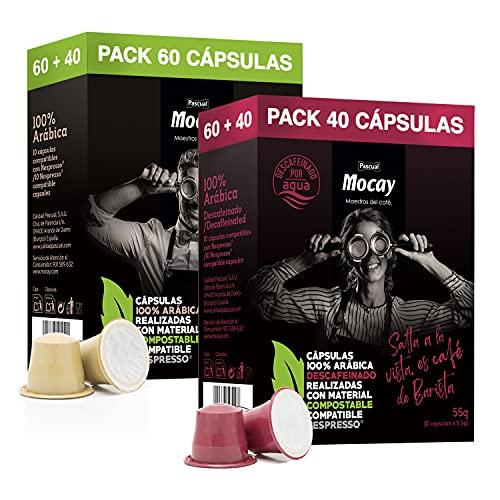 Mocay – Pack Mixto de 100 Cápsulas de Café Compostables, Compatibles con Máquinas Nespresso, 6 Paquetes de 10 Cápsulas de Café Natural – 4 Paquetes de 10 Cápsulas de...