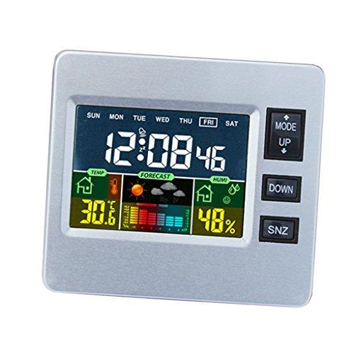 P Prettyia Estación Meteorológica LCD Digital Termómetro Higrómetro Reloj de Escritorio Snooze Despertador