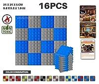 エースパンチ 新しい 16ピースセット 青とグレー 250 x 250 x 50 mm ピラミッド 東京防音 ポリウレタン 吸音材 アコースティックフォーム AP1034