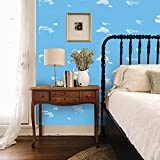 FLFK 3D Self-Adhesive Wallpaper Blue Sky White Cloud Peel and Stick Wall Murals Posters for Living Room Bedroom Home Decor 15.74 x 15.74 inch x 6Pcs