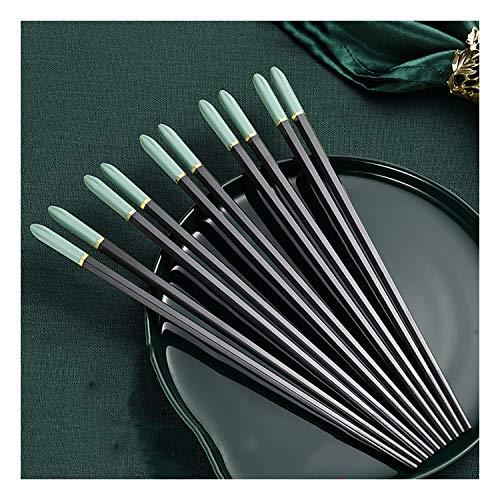 Juego de palillos de aleación de fibra de vidrio reutilizable de KSGH, 10 pares de palillos chinos antideslizantes, resistente al calor regalo de acondicionamiento d a-24.3cm