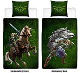Familando Wende Bettwäsche-Set The Legend of Zelda, 135x200 cm 80x80 cm, 100% Baumwolle Linon mit...