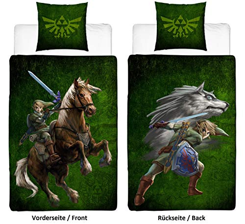 Familando The Legend of Zelda - Juego de funda nórdica y funda de almohada reversibles (135 x 200 cm y 80 x 80 cm, 100% linón de algodón, con cierre de cremallera, logo de Wolf-Link y Triforce)