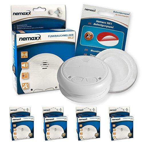 4x Nemaxx WL2 rivelatore di fumo senza fili + 4x Nemaxx NX1 Quickfix Pad di fissaggio