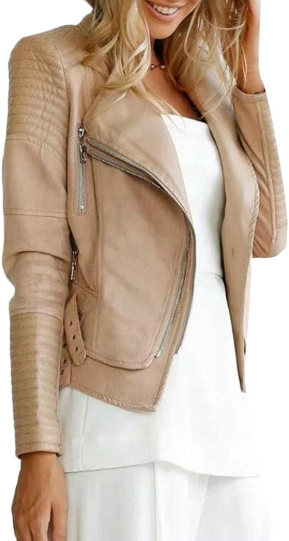 BLTR Women Autumn Zip Front Faux Pu Moto Biker Lapel Slim Fit Coat Jacket