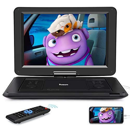 Naviskauto 14  Lettore DVD Portatile Bambini, Supporta HDMI USB AV IN AV OUT, Region Free, Batteria Ricaricabile in 6 Ore