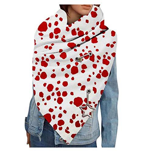 Hetangyuese - Bufanda para mujer, triángulo grande con botón, diseño de estrellas, estilo clásico, para otoño e invierno, bufanda de cuello I Talla única