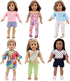 yeesport 6 Sets 18 Inch Girl Doll Clothes Set Fashion Doll Shorts Outfits Doll Outfit Set Doll Pants Set Doll Dressing Set...