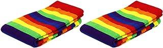 ifundom, ifundom 2 Pares de Calcetines de Algodón para Mujer con Estampado de Arte de Novedad Calcetines de Carnaval con Rayas Arcoíris Calcetines de Circo de Algodón para Niños