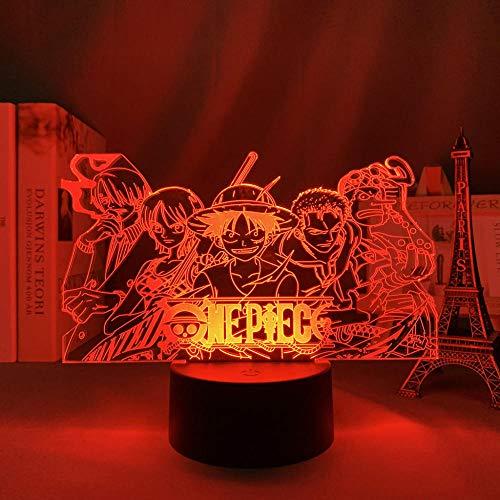 Calendario 2021 Anime de una sola pieza para decoración de habitación infantil, luz nocturna japonesa de anime japonés, equipo de una pieza, luz 3D, regalo de lámpara de noche DUYAO00