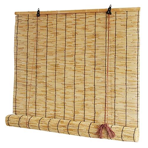 KLMN Patio Exterior de Persianas de Bambú,Persianas de Bambú para Windows,Sombrilla de Caña Al Aire Libre, Cortinas Al Aire Libre Resistentes a La Intemperie,W122xH215cm/48x84in