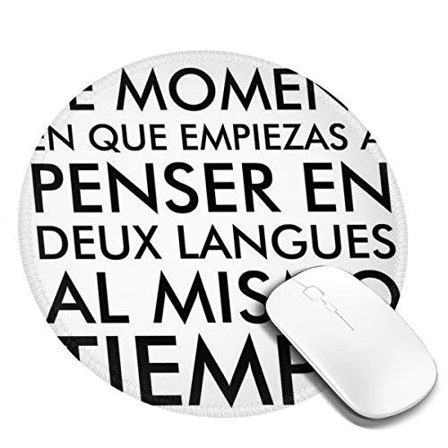 7.9x7.9 In ronde muismat denken in Frans en Spaans Bureau Toetsenbord Mat Big Mouse Pad Voor Computer Desktop PC Laptop