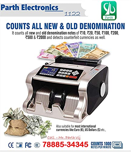 Trueview Mix Note Value Counting Machine Best & Professional Mixed Denomination Value Counter/Money Counting Machine/Currency Counting Machine with Fake Note Detection and Value Counting ( GOLDEN COLOR)