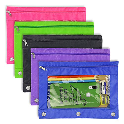 Pencil Pouch 3 Ring - 5 Pack Zip...