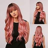 Esmee Peluca Rosa encantadora, peluca larga para mujer, peluca sintética rizada natural resistente al calor, adecuada para mujeres blancas(con flequillo)- 24 pulgadas
