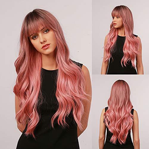 Peluca Rosa encantadora, peluca larga para mujer, peluca sintética rizada natural resistente al calor, adecuada para mujeres blancas(con flequillo)- 24 pulgadas